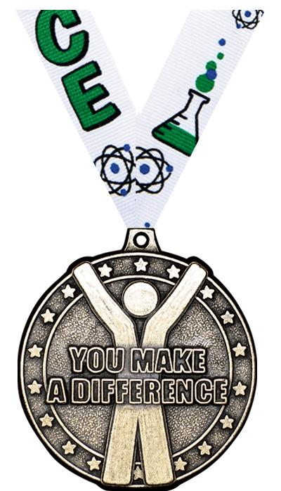 "2"" 3D YOU MAKE A DIFF MEDAL GD"