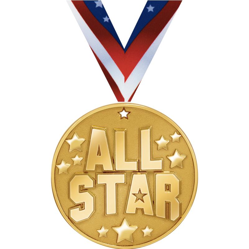 "2"" BLAZE ALL STAR MEDAL GOLD"