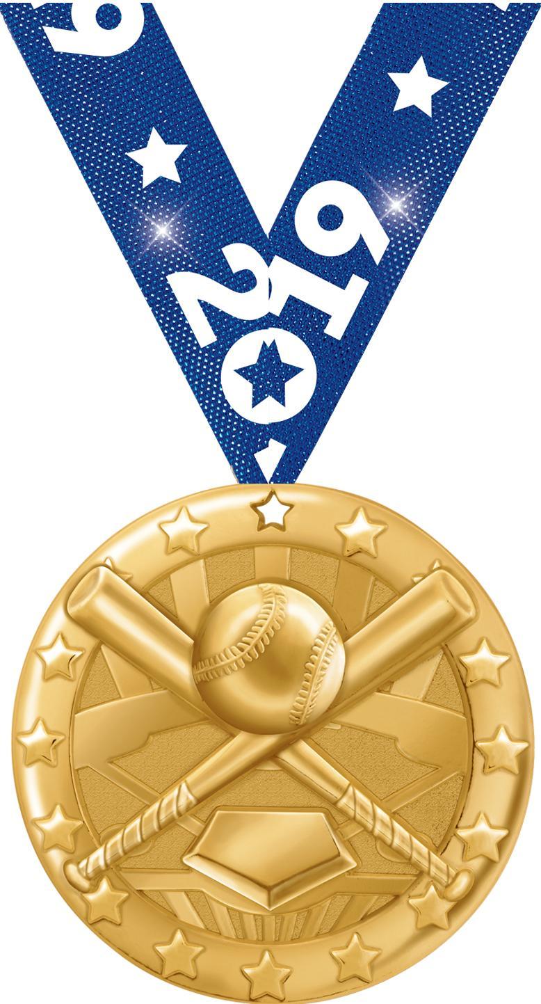 """2"""" BLAZE BASEBALL MEDAL GOLD"""
