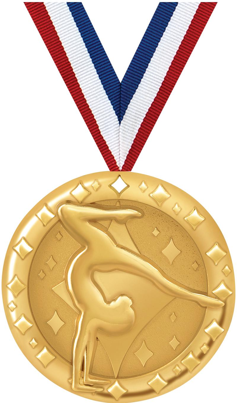 "2""BLAZE FEMALE GYM MEDAL GOLD"