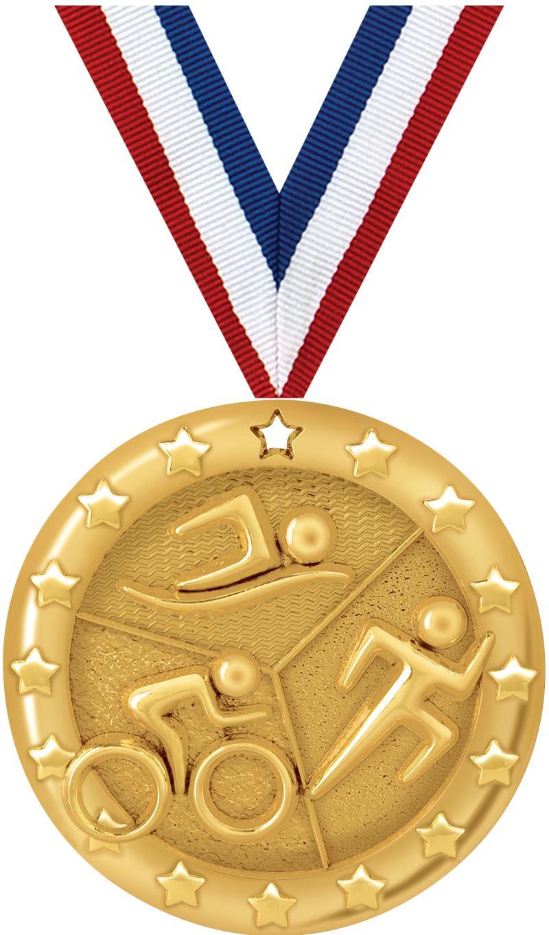 """2"""" BLAZE TRIATHLON MEDAL GOLD"""