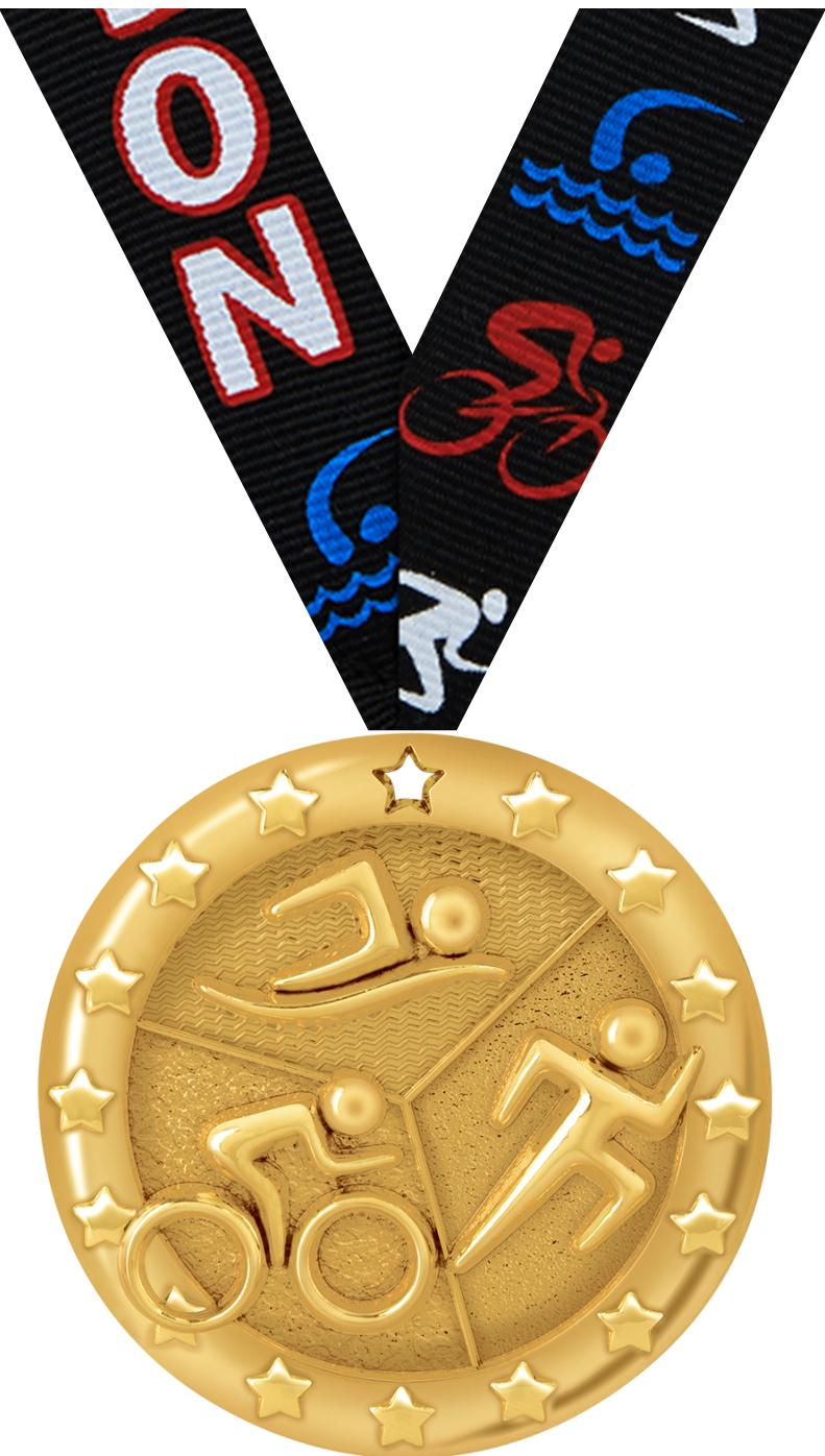 "2"" BLAZE TRIATHLON MEDAL GOLD"