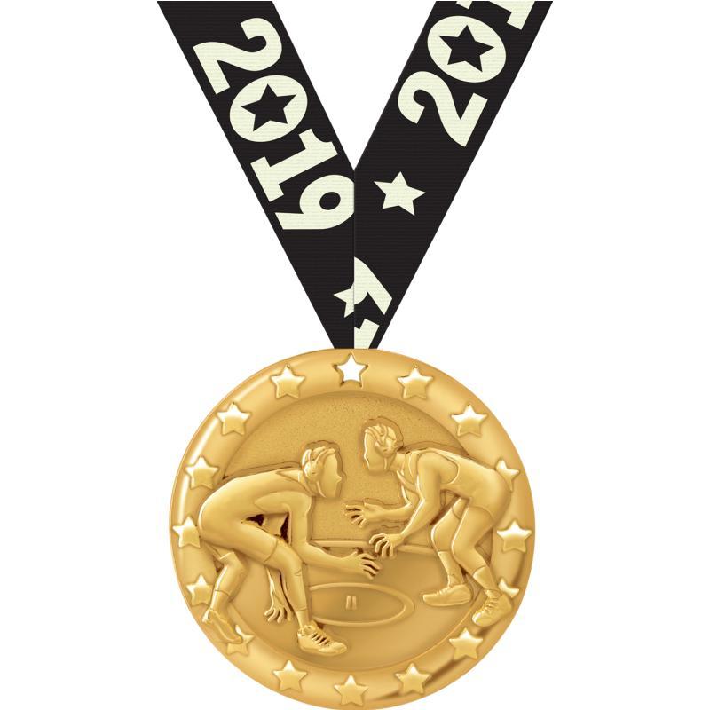 """2""""BLAZE WRESTLING MEDAL GOLD"""