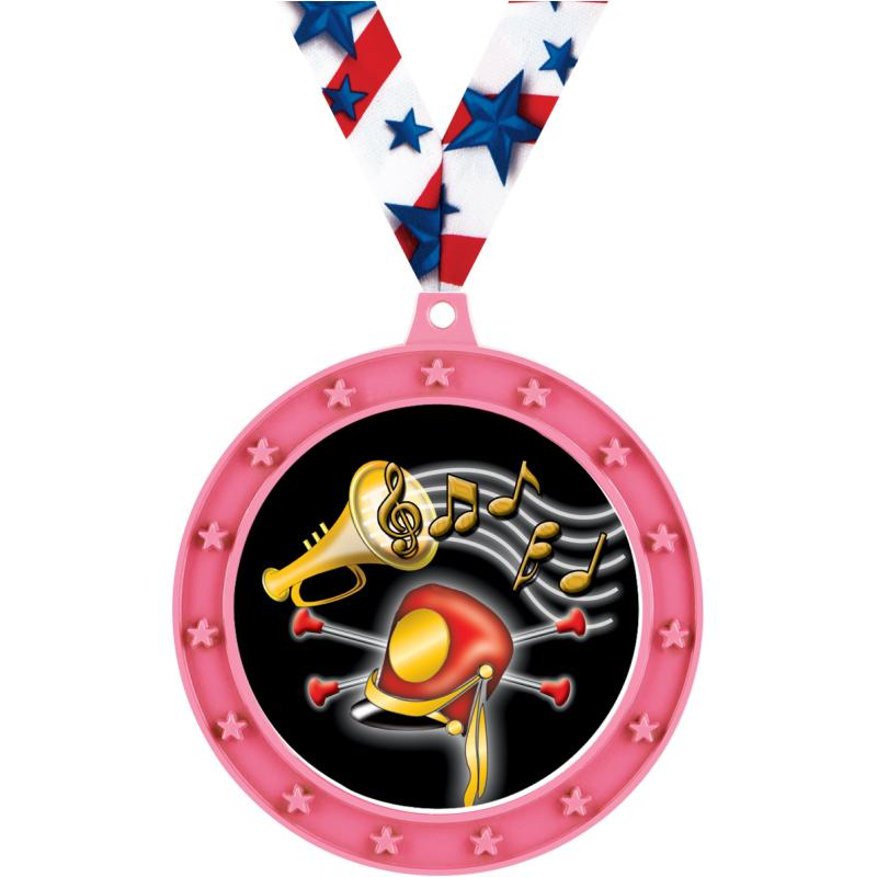 "2 1/2""UNIVERSE STAR MEDAL PINK"