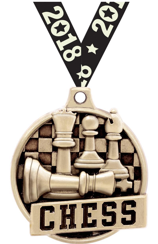 """1.5""""3D CHALLENGER CHESS GOLD"""