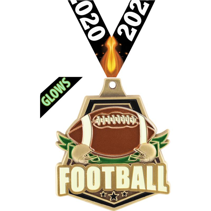 "2""GLOW DARK FOOTBALL CAPT GOLD"