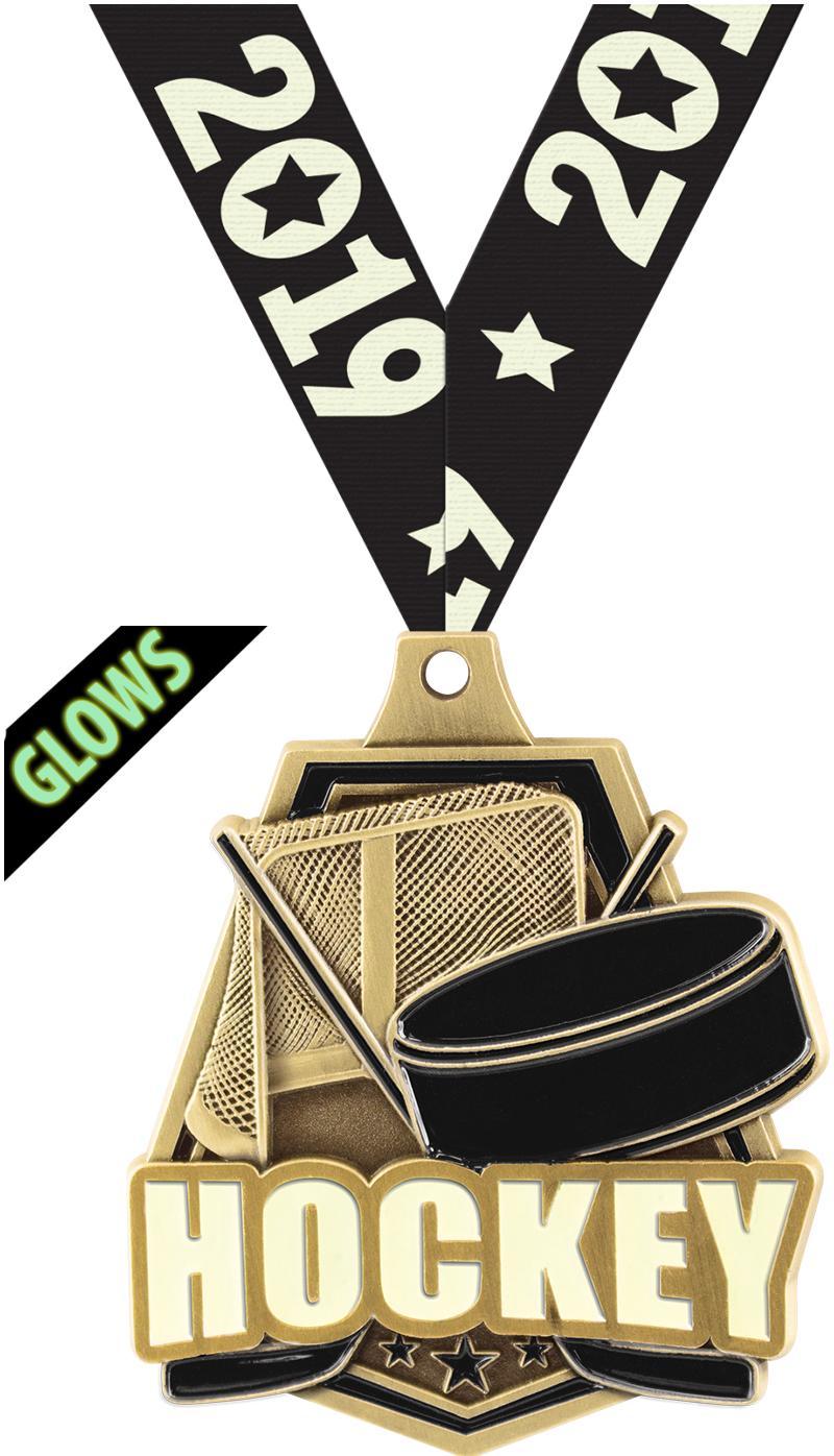 "2""GLOW IN DARK HOCKEY CAP GOLD"