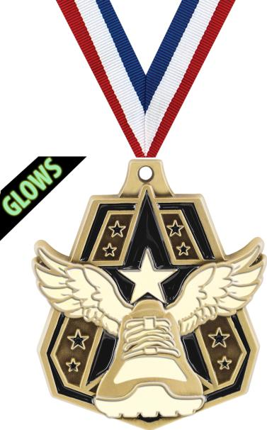 2 Glow In The Dark Captain Medals 2 Glow In The Dark Winged Foot