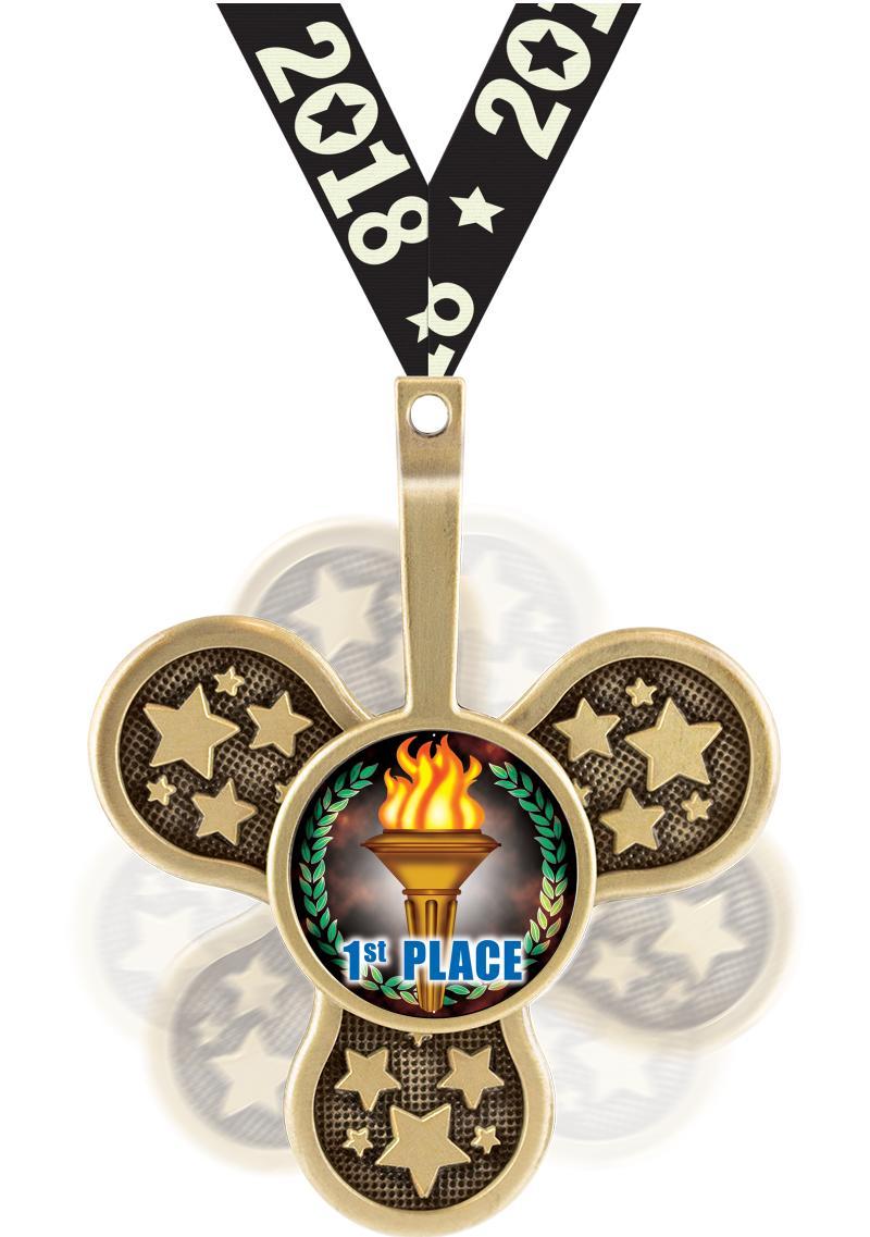 """2.5"""" SPINZ INSERT MEDAL GOLD"""