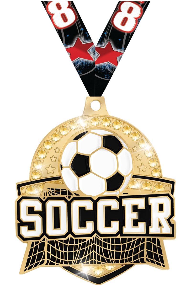 "2.25"" ROYAL SOCCER MEDAL GOLD"