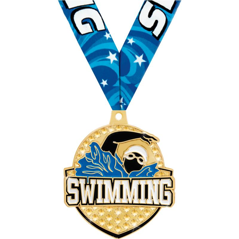 "2.25"" ROYAL SWIMMING MEDAL GD"