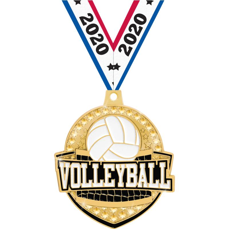 """2.25""""ROYAL VOLLEYBALL MEDAL GD"""