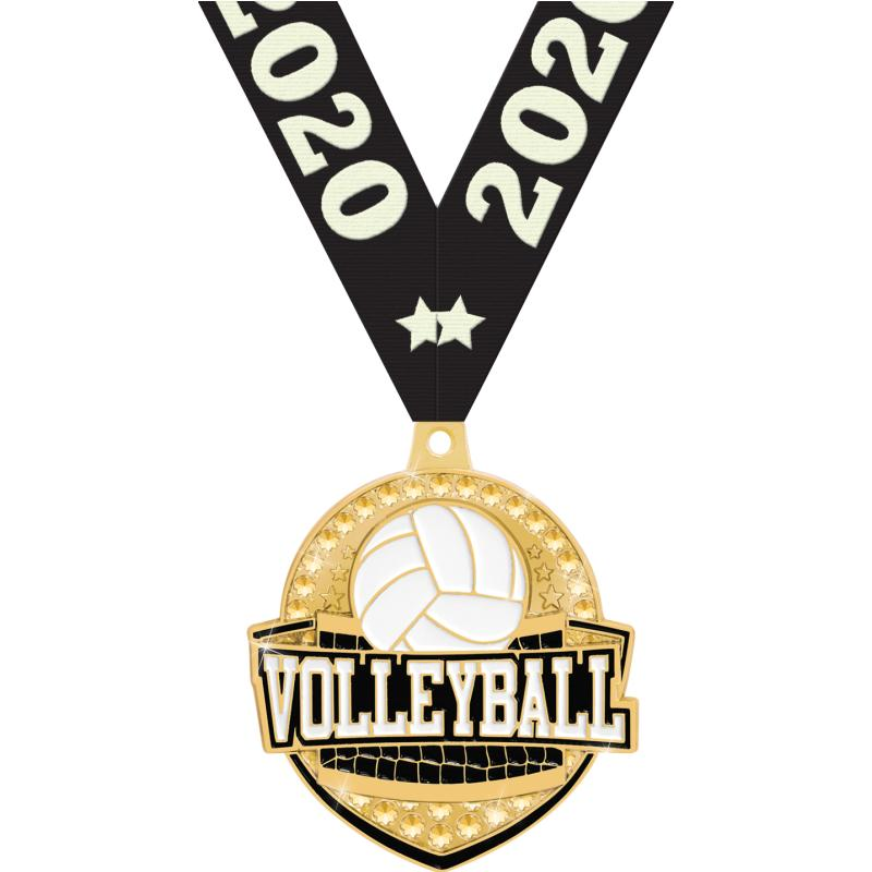 "2.25""ROYAL VOLLEYBALL MEDAL GD"