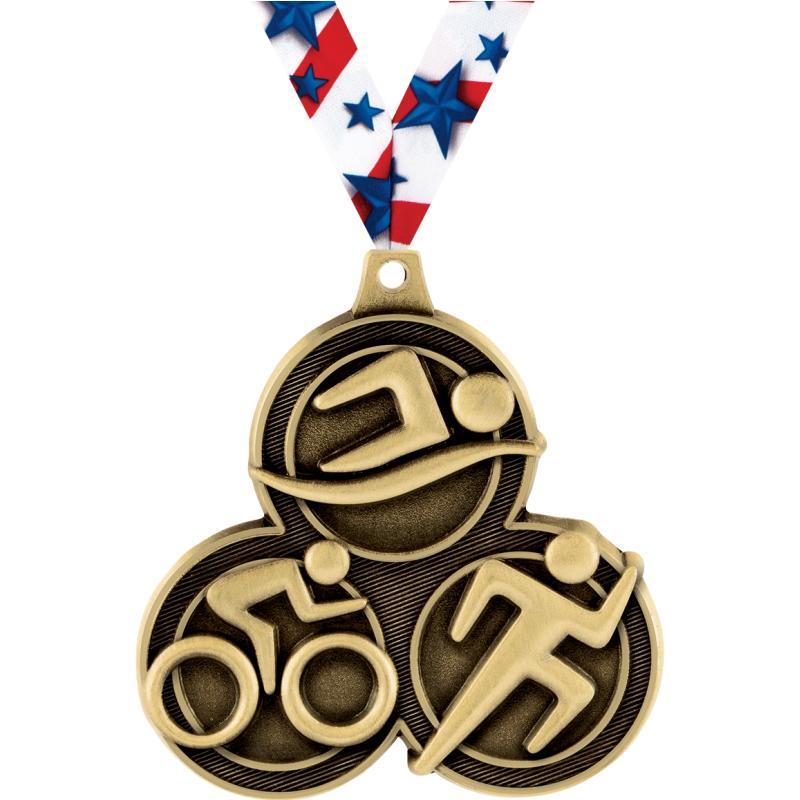 """2.25"""" TRIATHLON MEDAL GOLD"""