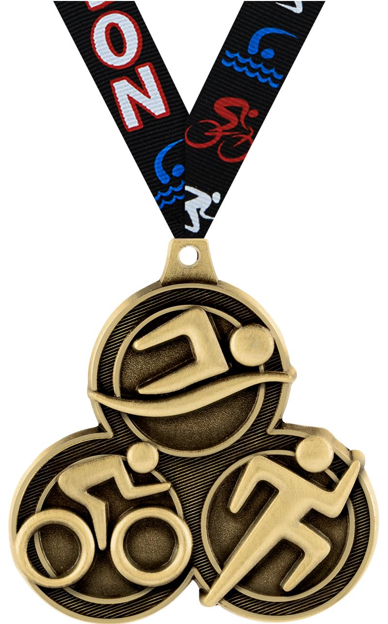 "2.25"" TRIATHLON MEDAL GOLD"