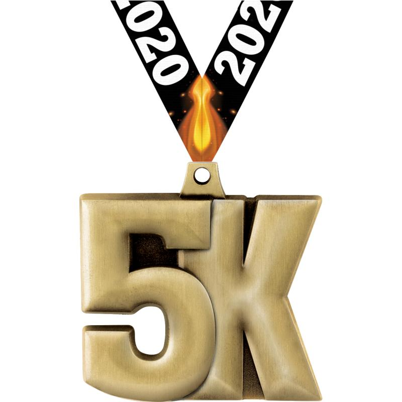 "2"" 5K MEDAL GOLD"