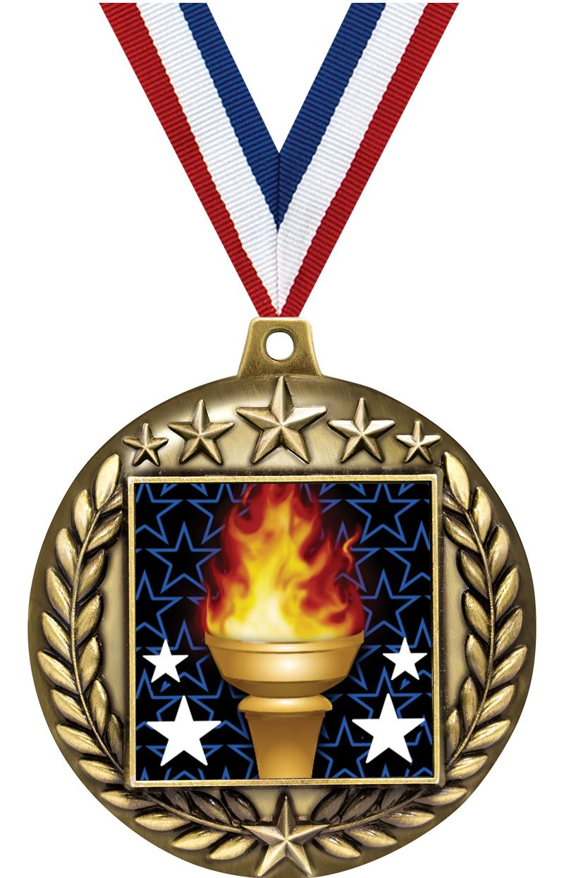 """2.25"""" MAJESTIC INS MEDAL GOLD"""