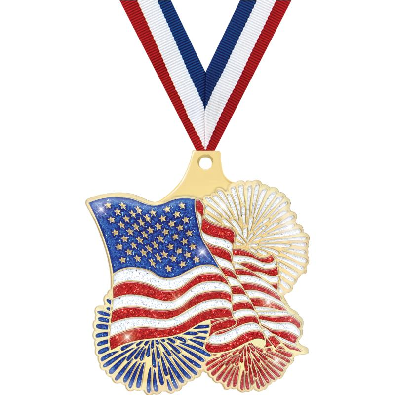 "2"" FLAG GOLD MEDAL"