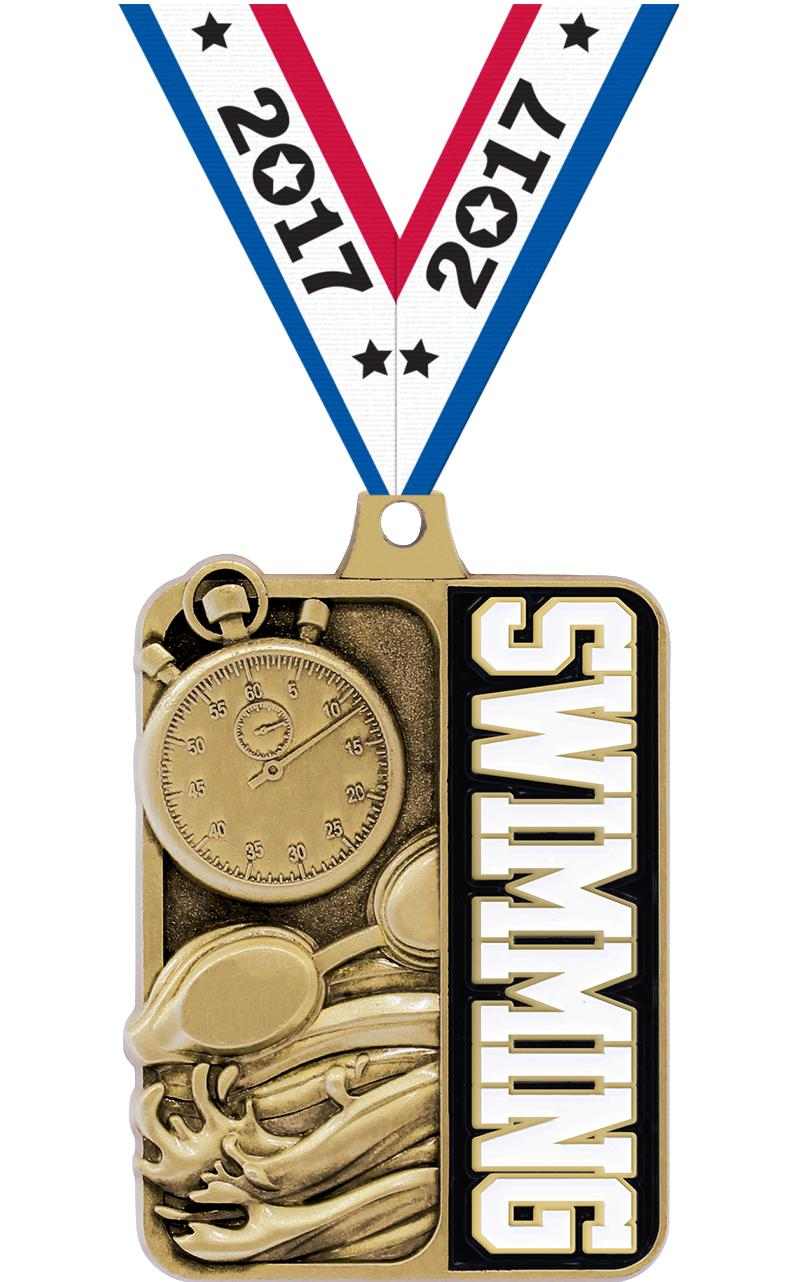 "2 1/4"" Swimming Sportastic Medal"