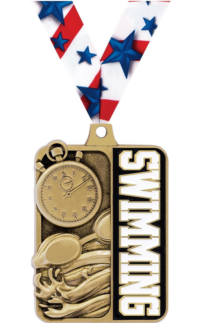 "2 1/4"" Swimming Sportastic Medal"