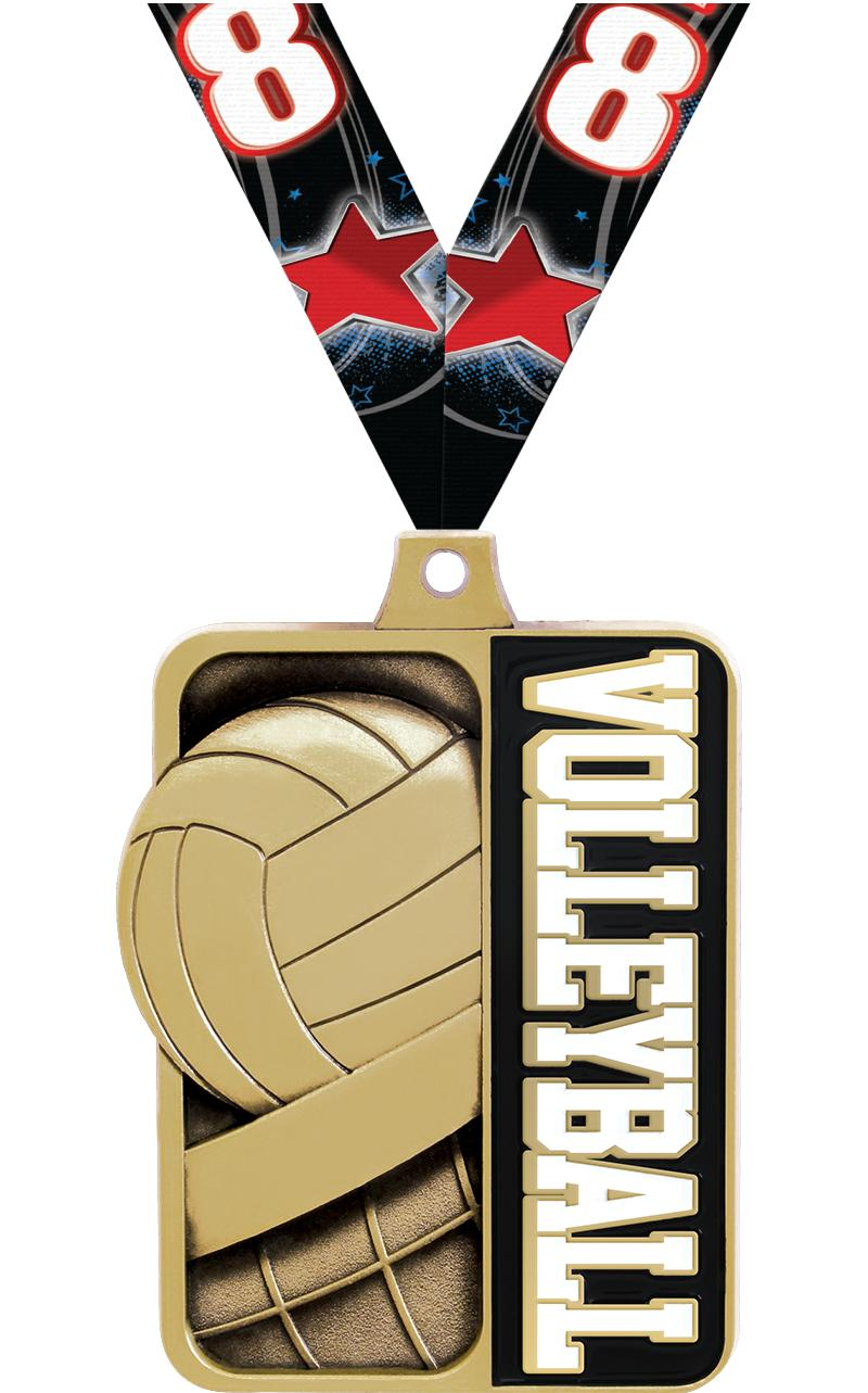 """2 1/4"""" Volleyball Sportastic Medal"""
