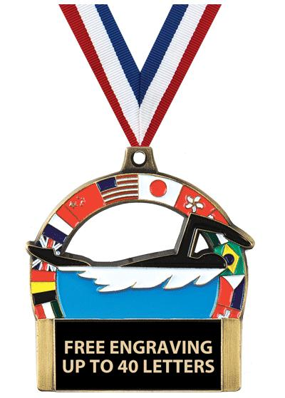 "2""UNIVERSAL SWIMMING MEDAL GLD"
