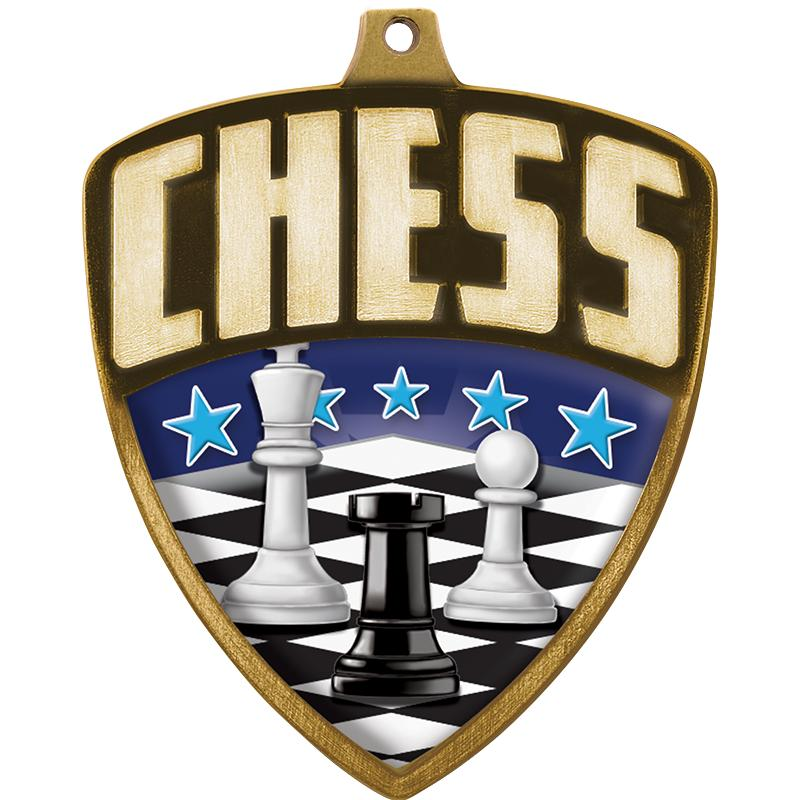 "2.25"" SHIELD CHESS MDL GLD"