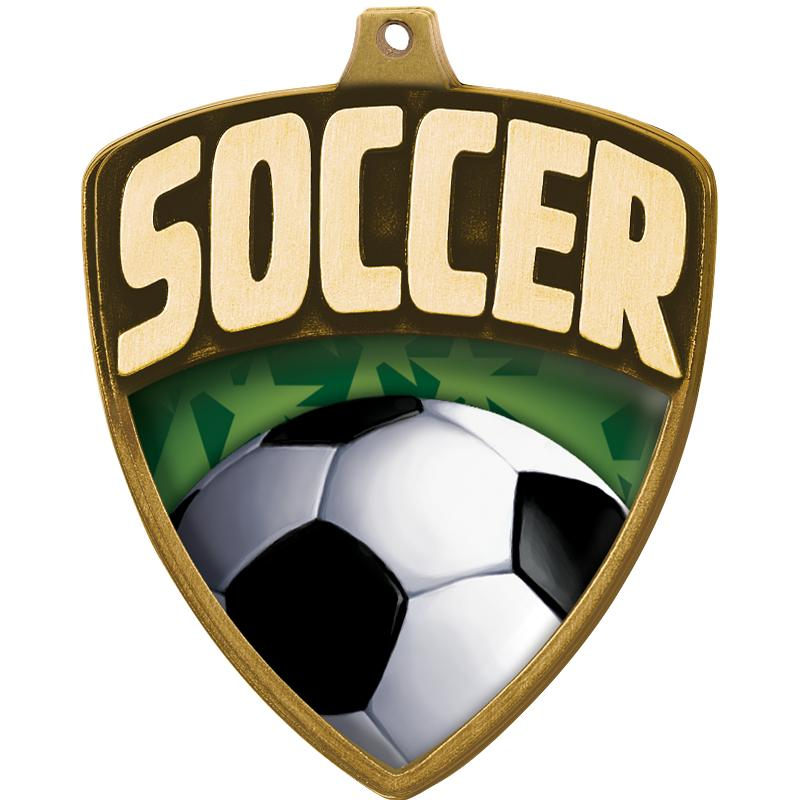 "2.25"" SHIELD SOCCER MDL GLD"