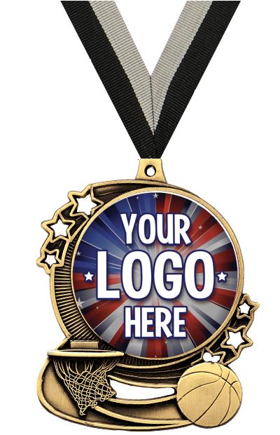 """3"""" Basketball Star Double Action Medals"""