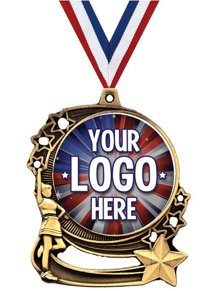 """3"""" Cheer Star Double Action Medals"""