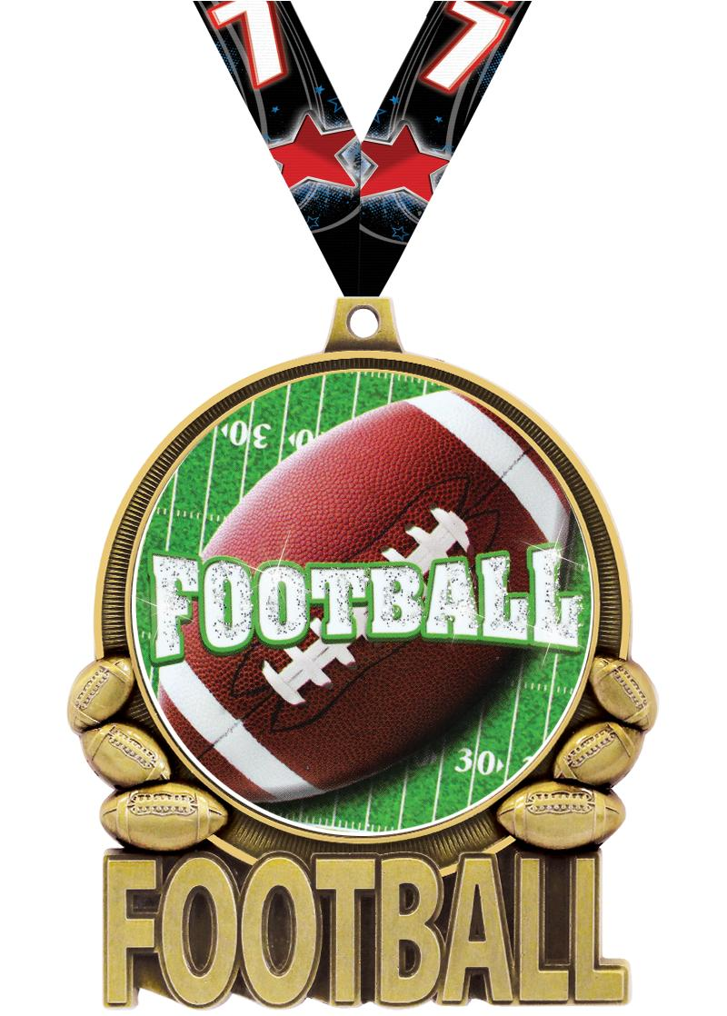 "3"" Football Double Action 2.0 Medals"