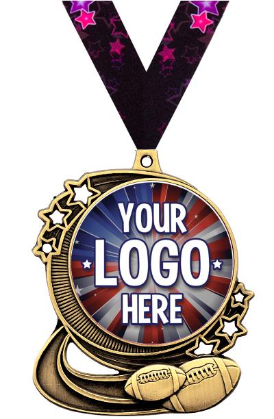 """3"""" Football Star Double Action Medals"""
