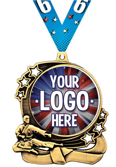 """3"""" Martial Arts Star Double Action Medals"""