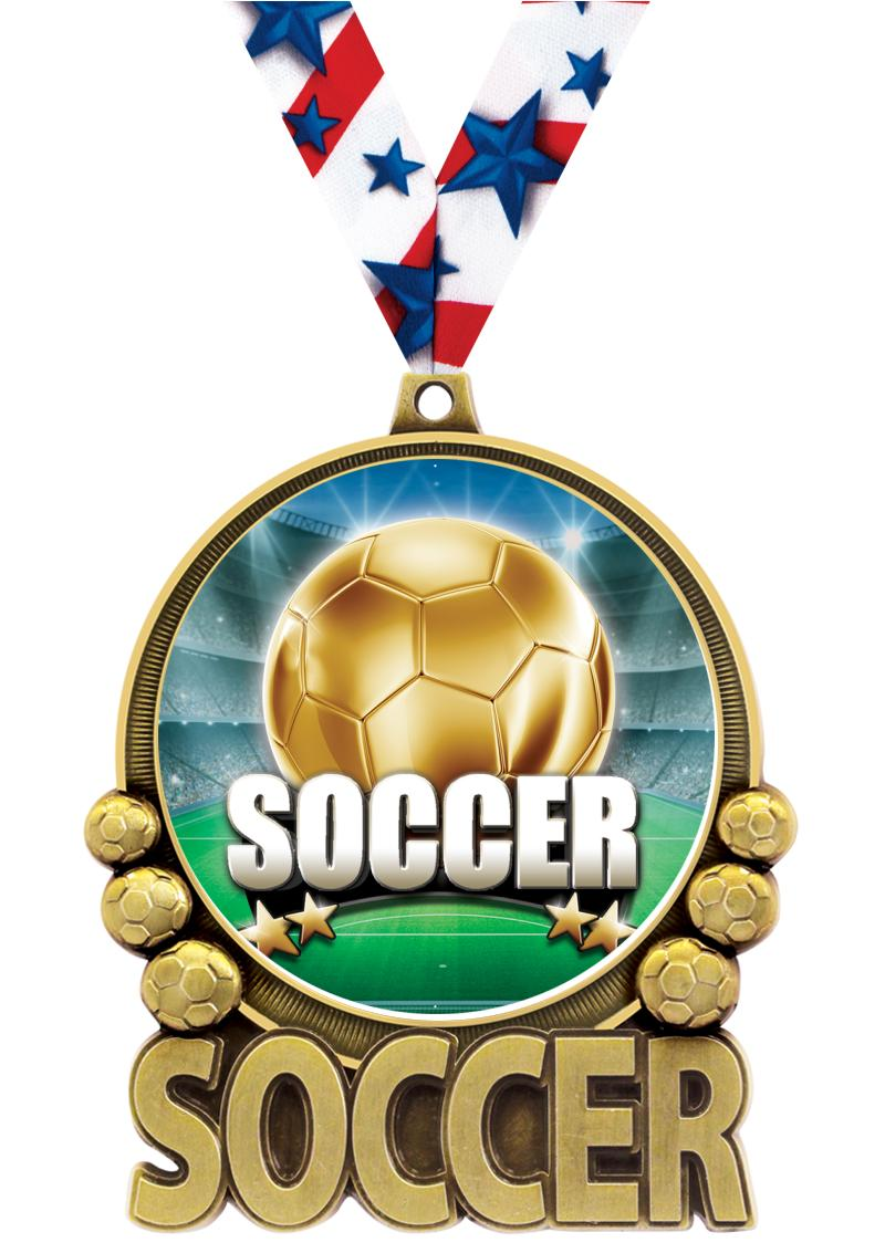 "3"" Soccer Double Action 2.0 Medals"
