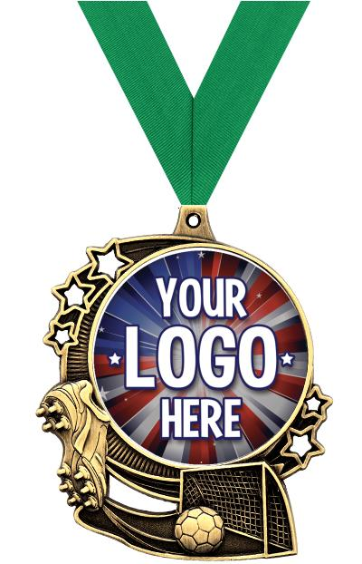 """3"""" Soccer Star Double Action Medals"""