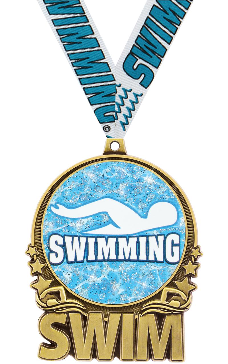 """3"""" Swimming Double Action 2.0 Medals"""