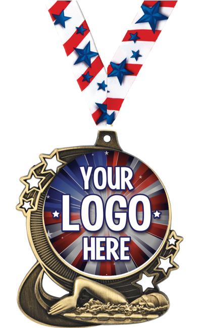 """3"""" Swimming Star Double Action Medals"""