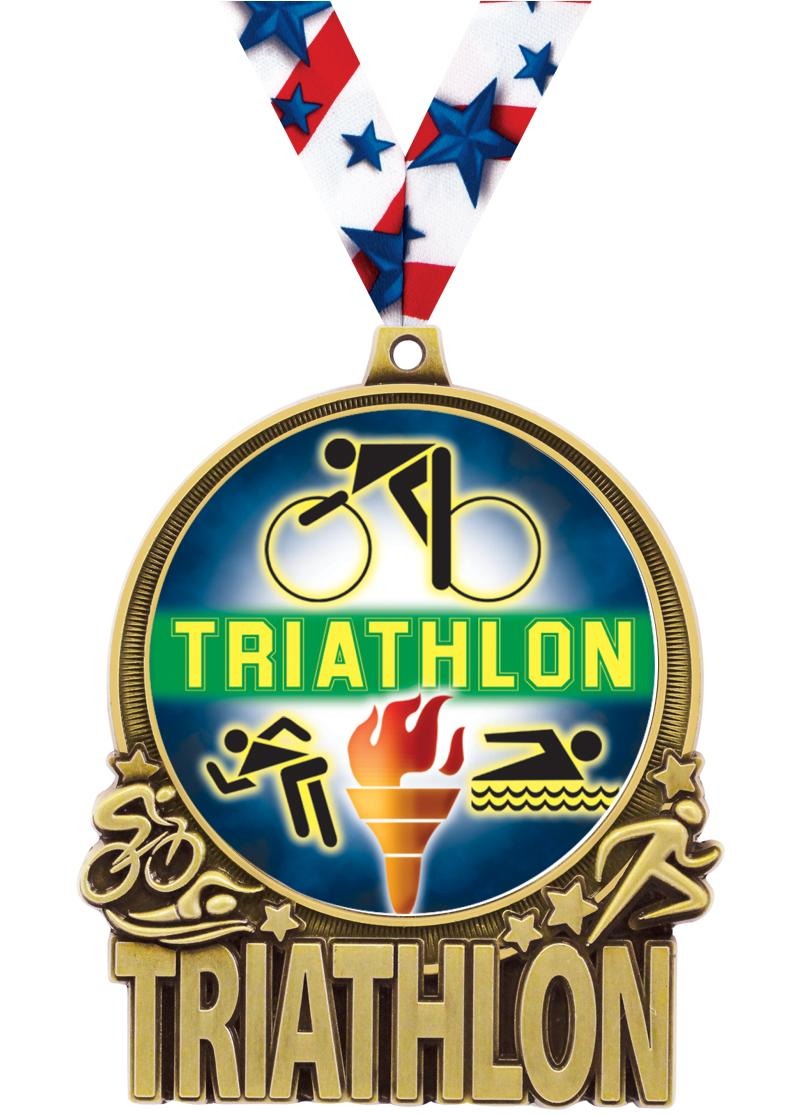 "3"" Triathlon Double Action 2.0 Medals"