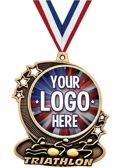 "3"" Triathlon Star Double Action Medals"