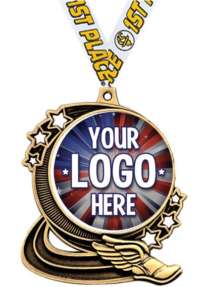 """3"""" Winged Foot Star Double Action Medals"""