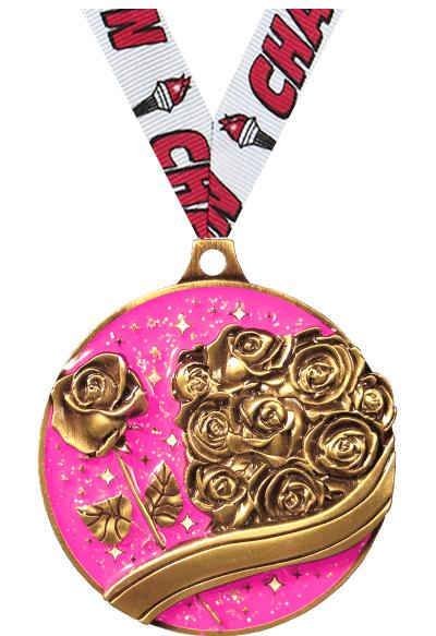 "2"" BEAUTY GLITTER MEDAL GOLD"