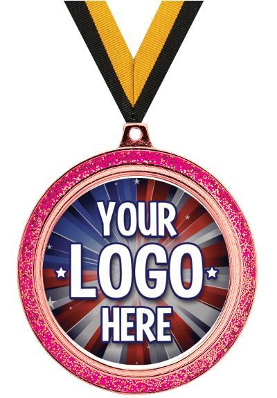 "2 1/2"" Pink Glitter Medal"