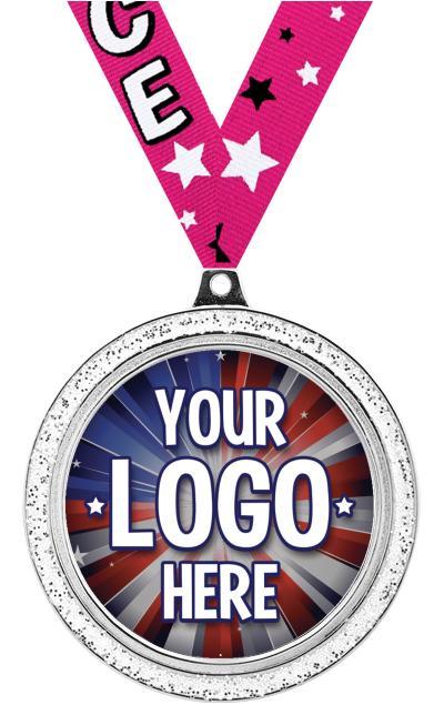 """2 1/2"""" Silver Glitter Medal"""