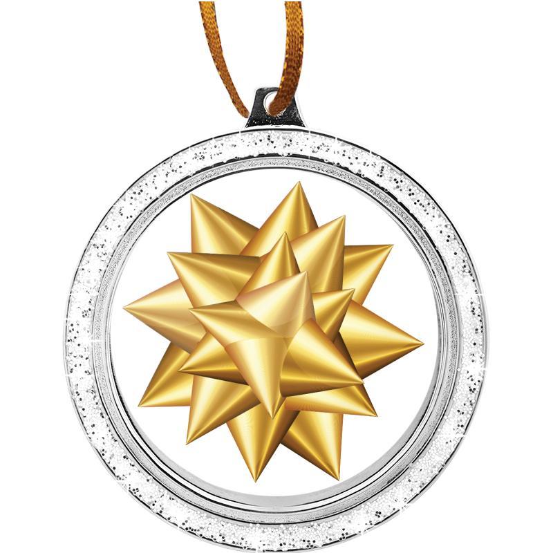 "2 1/2"" Silver Glitter Insert Ornament"