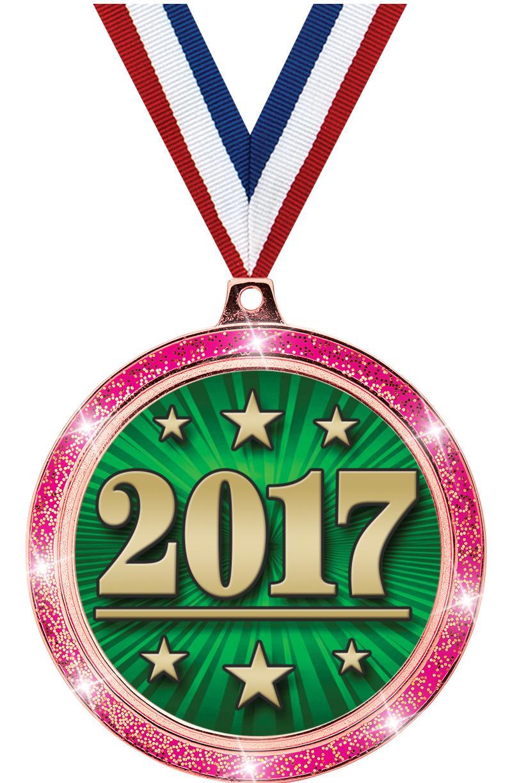 """2 1/2"""" Insert Pink Glitter Medals"""