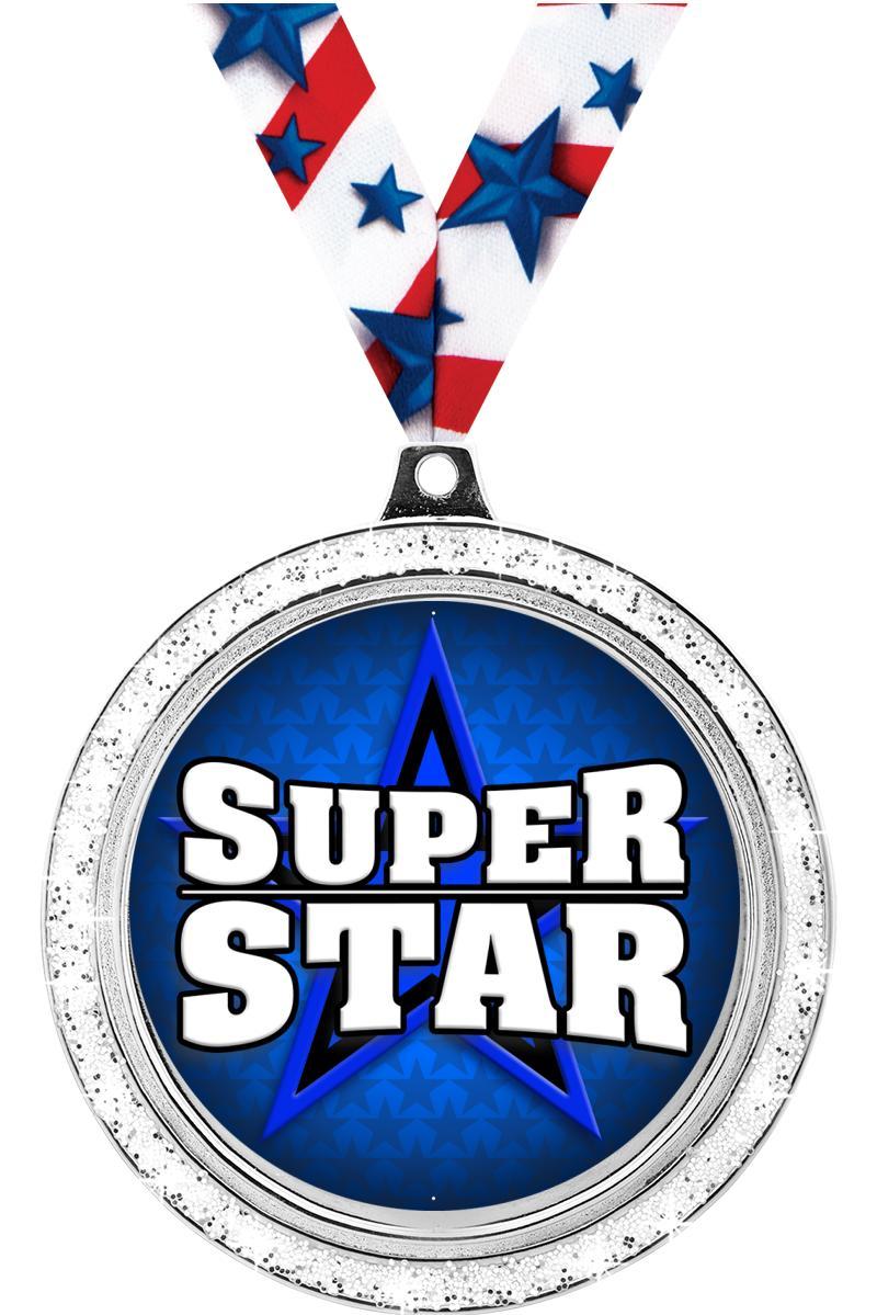 "2 1/2"" Insert Silver Glitter Medals"