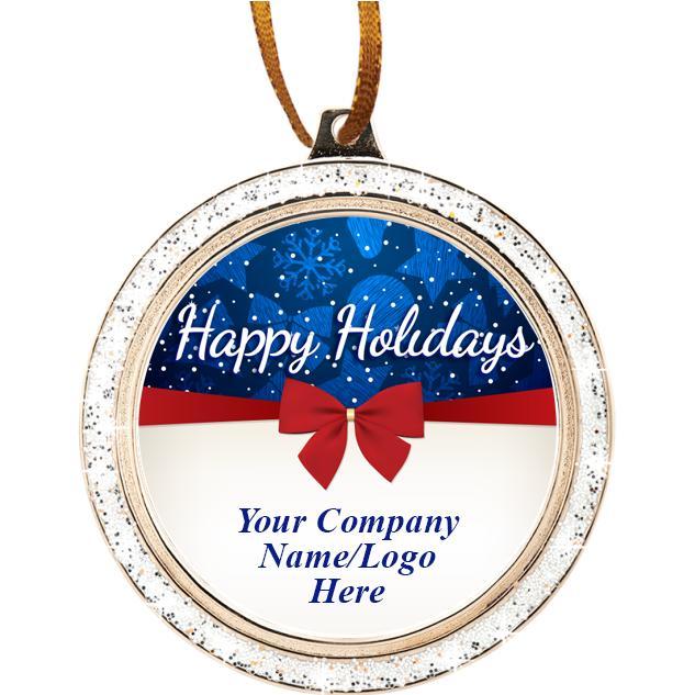 "2 1/2"" Happy Holiday Bow Ornament"