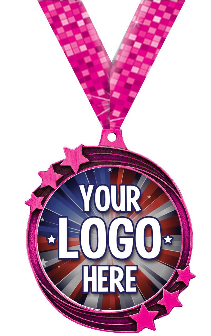 "2 1/2"" Pink Shooting Star Insert Medal"