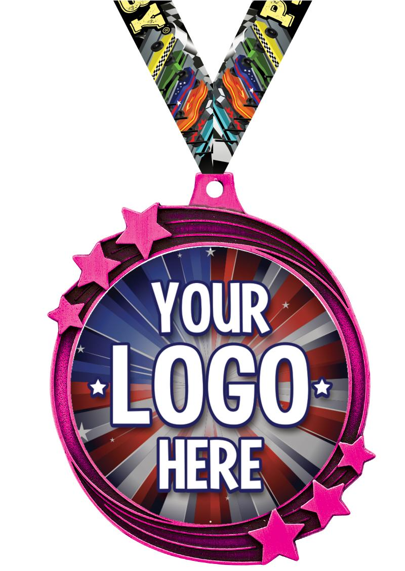 "2 1/2"" Pink Shooting Star Insert Medal"