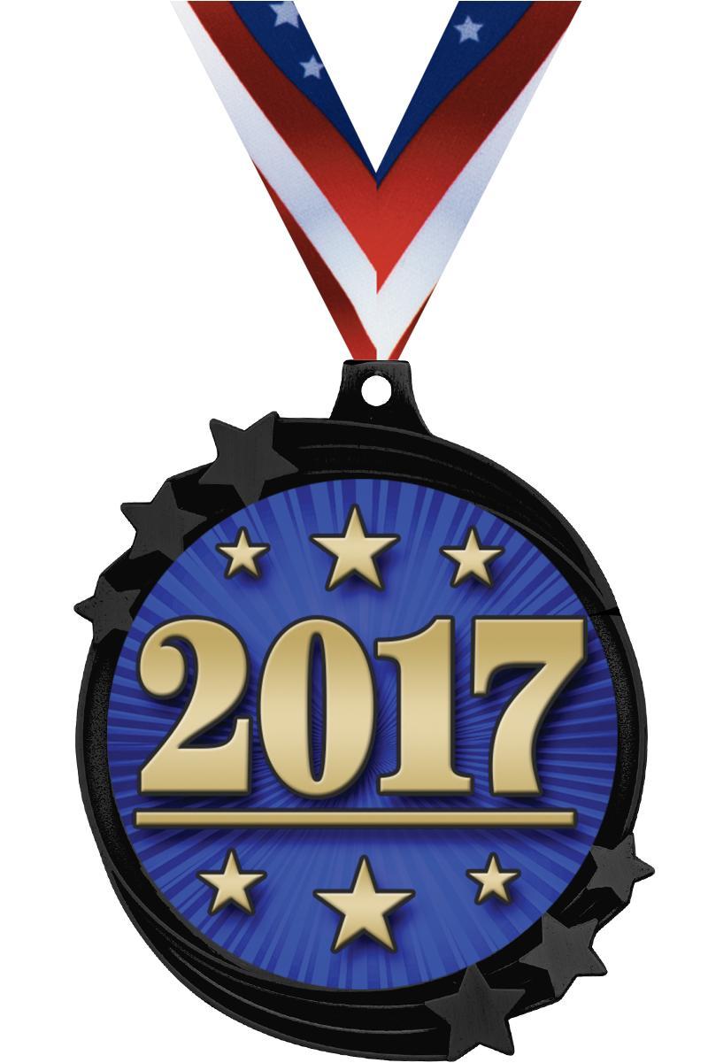 """2 1/2"""" Black Nickel Shooting Star Medal"""